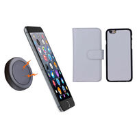 iPhone 6+ White Magnetic Wallet Case w Phone Holder