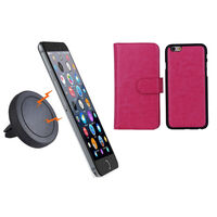iPhone 6+ Pink Magnetic Case w/ Car Air Vent Holder