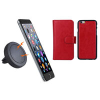iPhone 6+ Red Magnetic Case w/ Car Air Vent Holder