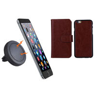iPhone 6+ Brown Magnetic Case w Car Air Vent Holder