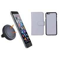 iPhone 6+ White Magnetic Case w Car Air Vent Holder