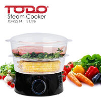 Todo Plastic Food Steamer Cooker w/ 2 Trays 400W 5L