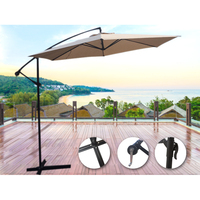 Round Outdoor Patio Cantilever Umbrella in Beige 3m