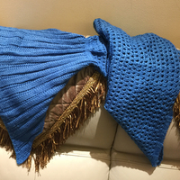 Adults Knitted Mermaid Tail Blanket Serenity Blue