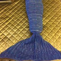 Adults Knitted Mermaid Tail Blanket - Undersea Blue