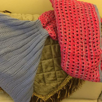 Adults Knitted Mermaid Tail Blanket in Pretty Pink
