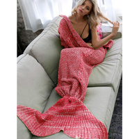 Adults Knitted Mermaid Tail Blanket in Ruby Red