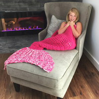 Kids Knitted Mermaid Tail Blanket - Bubble Gum Pink