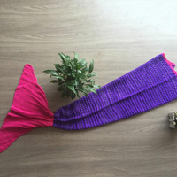 Kids Knitted Mermaid Tail Blanket in Purple & Pink