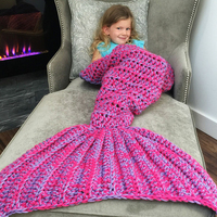 Kids Knitted Mermaid Tail Blanket in Pink 130cm