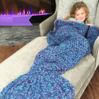 Kids Knitted Mermaid Tail Blanket in Undersea Blue