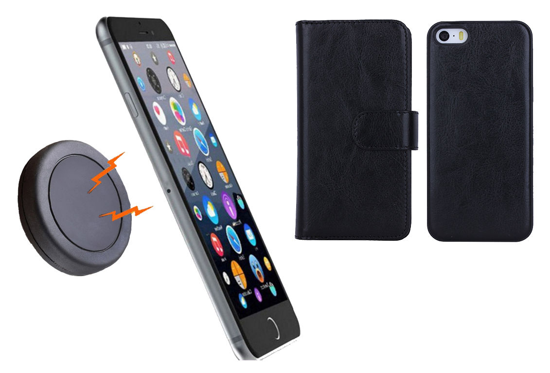 first rate 14fca 1504f MAGNETIC QUICK SNAP CAR MOUNT LEATHER CREDIT CARD CASE HOLDER iPHONE 6+  Plus - Black