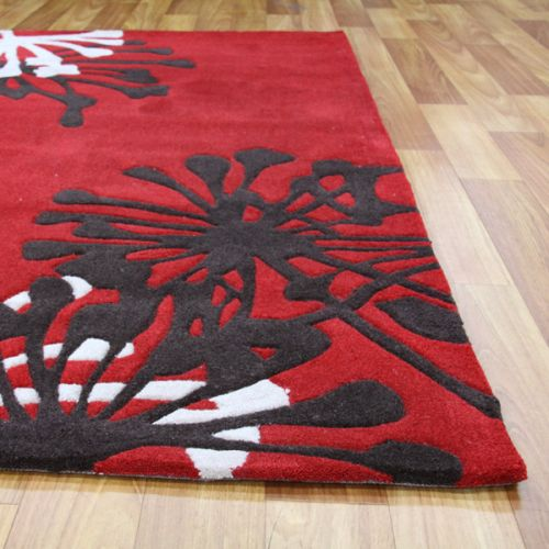 Stunning Red Rug With Flower Print 280x190cm Buy Rugs