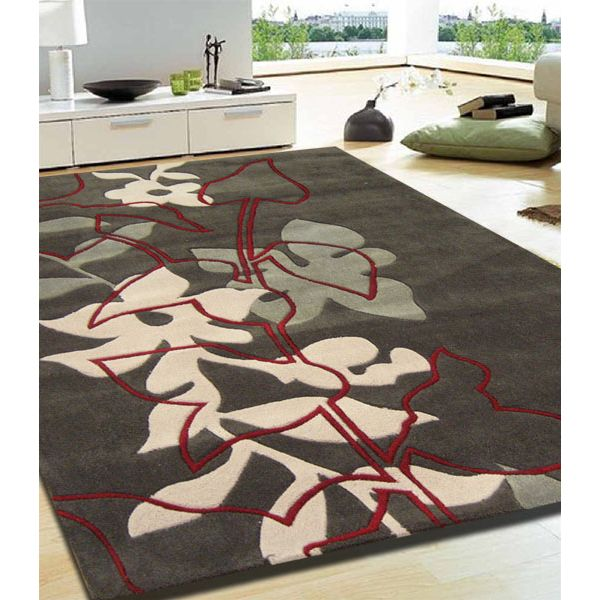 Leaf and vine rug brown cream red 320x230cm buy 320 x for Cream and red rugs