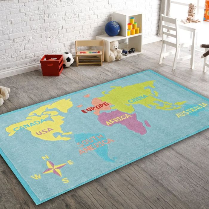 World Map Baby Rug: World Map Rug Blue 165x115cm