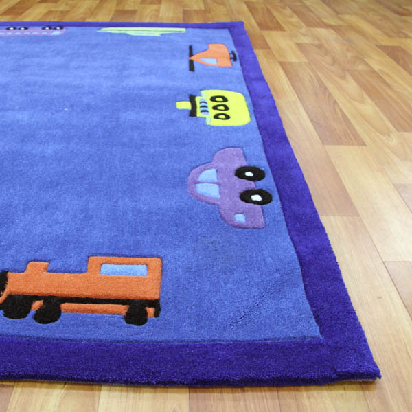 Fun Automobile Boys Rug Blue 165x115cm Buy Kids Rugs 91596