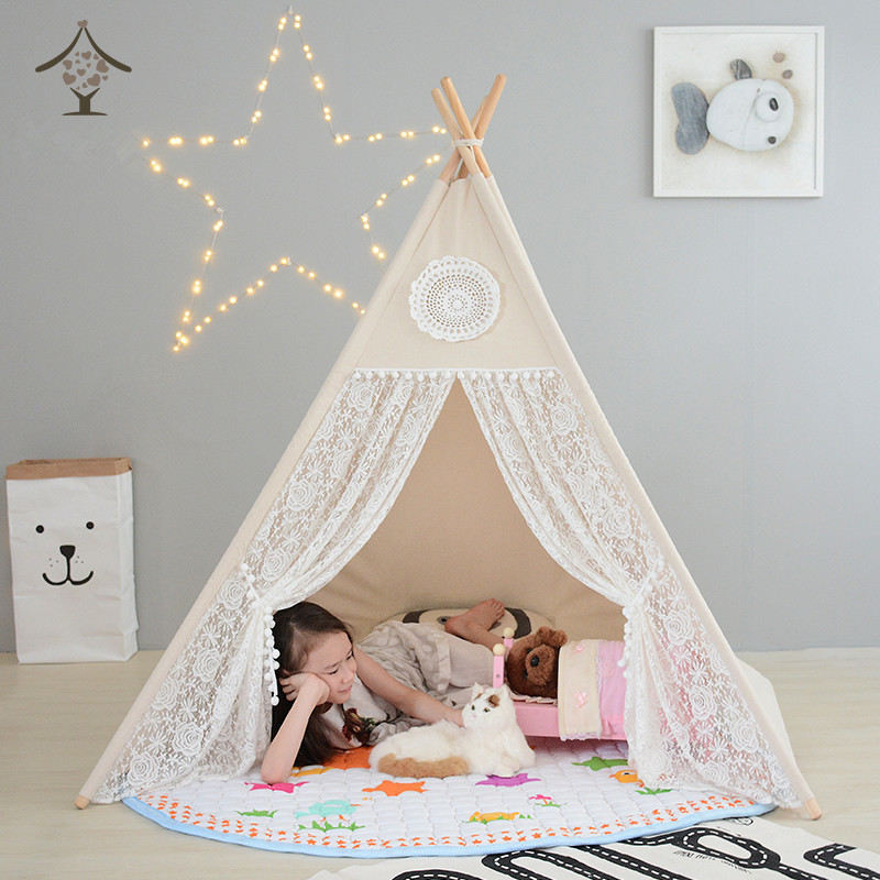 Large Cotton u0026 Lace Indoor Outdoor Kids Teepee Tent & Kids Play Tents | Have Fun Indoors Or Outdoors With A Play Tent