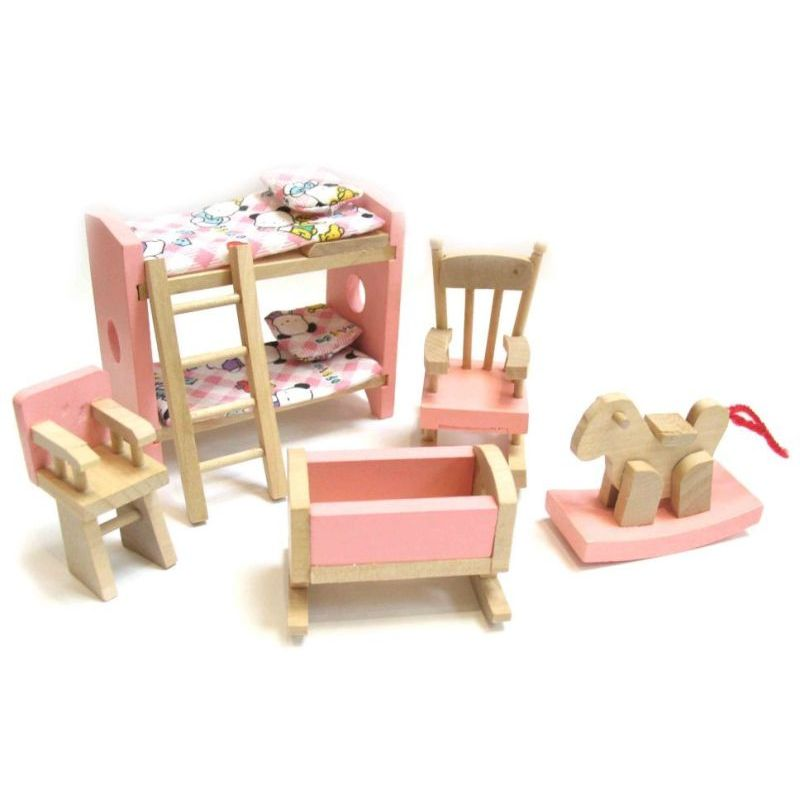 Wooden dollhouse furniture set w 6 rooms 4 dolls buy dollhouses Dollhouse wooden furniture