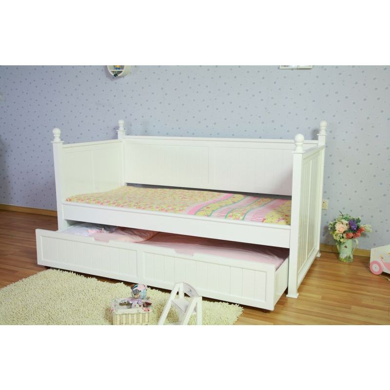 Kids princess single bed frame w trundle in white buy for Kids white bed frame