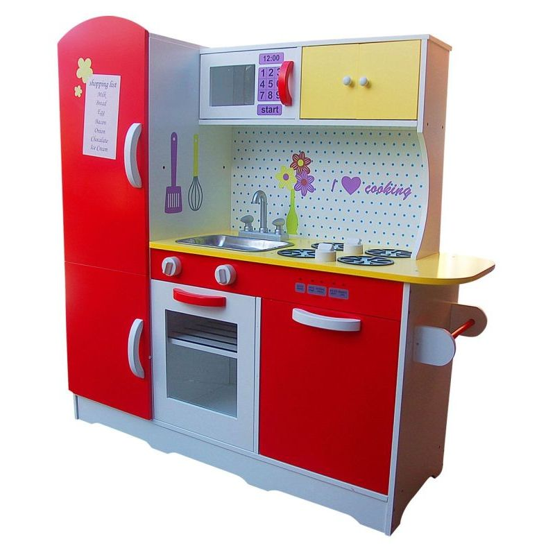 Kids Wooden Pretend Play Kitchen In Red And White