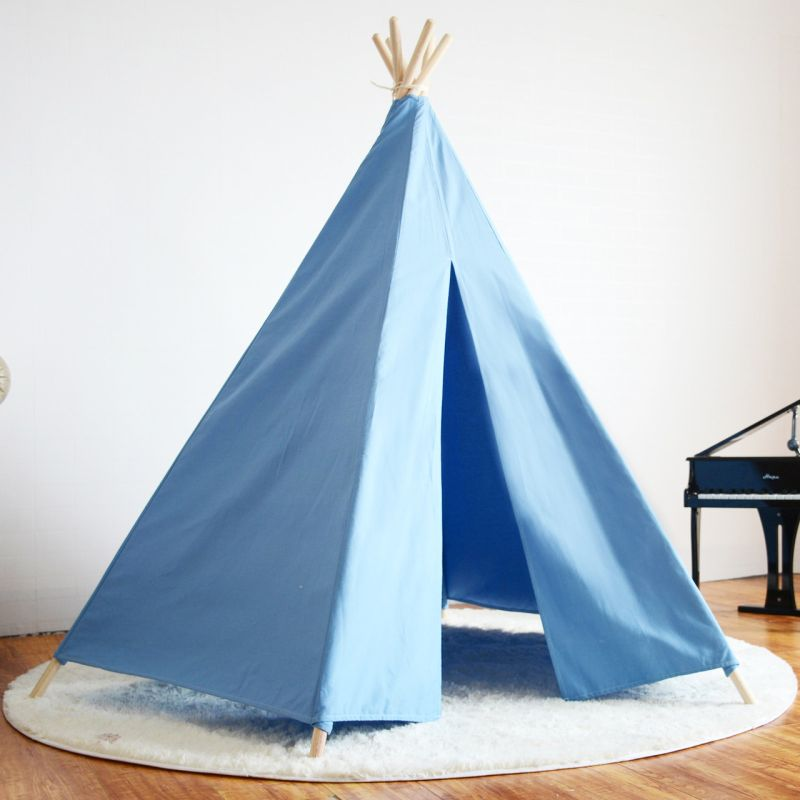 Kids Timber Canvas Honeycomb Teepee Tent W Rug Blue Buy