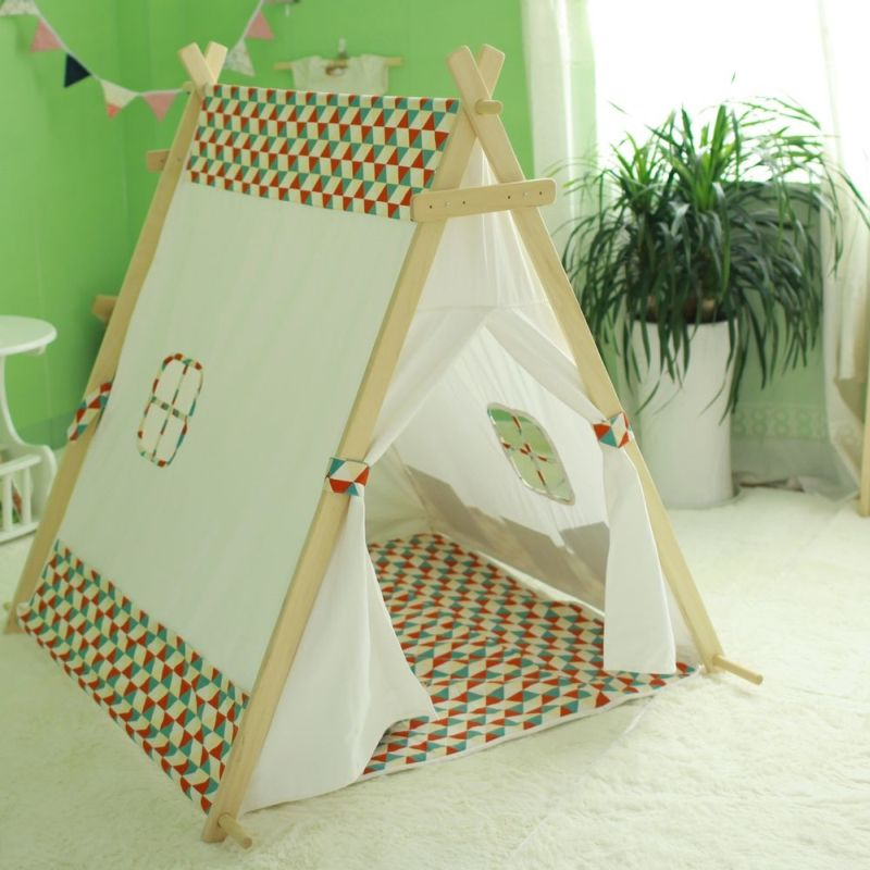 Kids A-Frame Cotton Canvas Teepee Tent White Tartan & Kids A-Frame Cotton Canvas Teepee Tent White Tartan | Buy Teepees