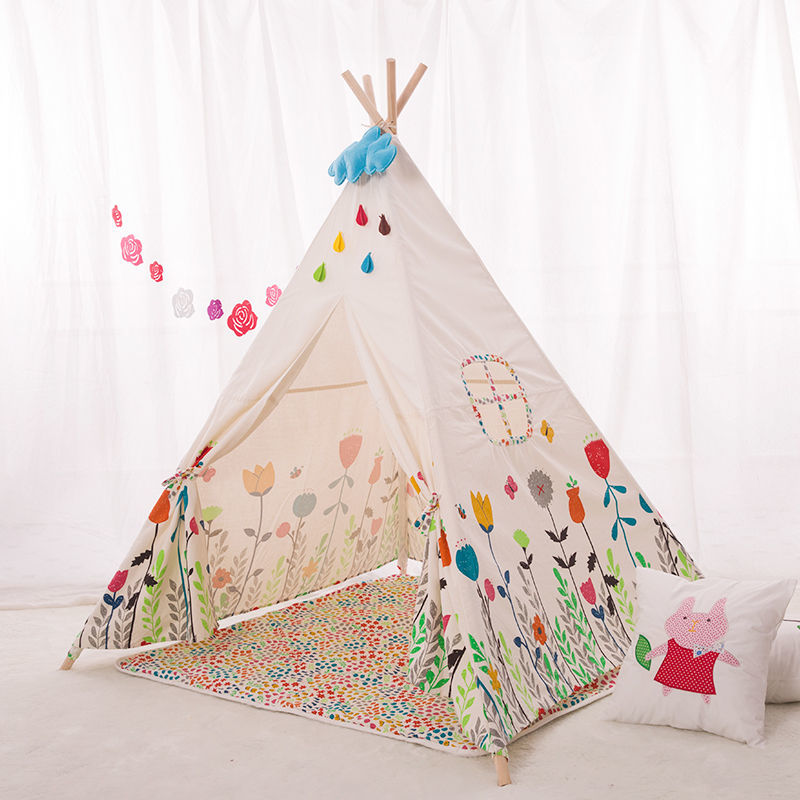 kid 39 s timber canvas square teepee w rug floral buy. Black Bedroom Furniture Sets. Home Design Ideas