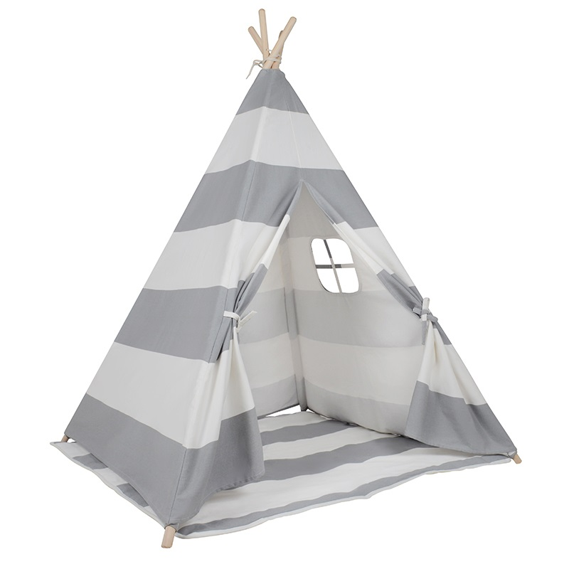 h m s Remaining. Kids Square Cotton Canvas Teepee Tent ...  sc 1 st  MyDeal & Kids Square Cotton Canvas Teepee Tent - Grey Stripe | Buy Teepees