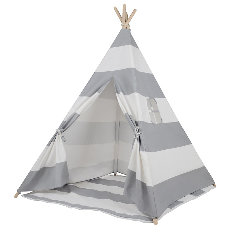 Kids Square Cotton Canvas Teepee Tent - Grey Stripe | Buy Teepees