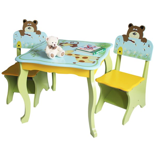 Kids Animal Table And Chairs Set In Blue And Green Buy