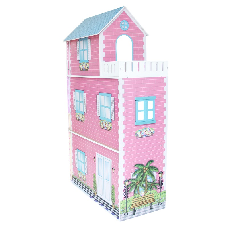 Kid 39 S Mdf 3 Storey Dollhouse W Furniture In Pink Buy