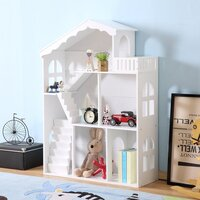 Kids Dollhouse Bookshelf Toy Storage Shelves White