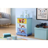 Kids Aeroplane Vehicle 3 Drawer Bedside Table