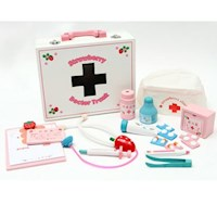 26pc Kid's Strawberry Pretend Play Doctor Set Pink