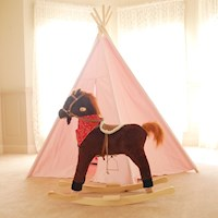 Kid's Electric Rocking Horse w/ Sounds Brown & Red