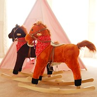 Kid's Electric Rocking Horse w/ Sounds Walnut & Red