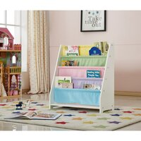 Kid's MDF Wood & Canvas Bookshelf in White & Pastel