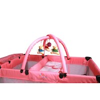 Baby Travel Cot w/ Bassinet and Change Table - Pink