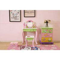 Kid's Dressing Table w/ Mirror & Stool Green Purple