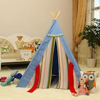 Kids Cotton Canvas Square Teepee w/ Rug Blue Stripe