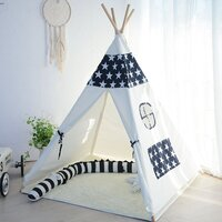 Kids Square Cotton Canvas Teepee Tent - Blue Stars