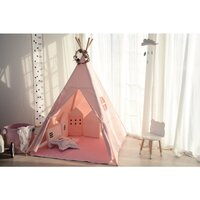 Kids Square Cotton Canvas Teepee Tent - Pink w Flag
