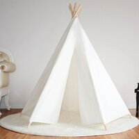 Kids Honeycomb Cotton Canvas Teepee Tent in White