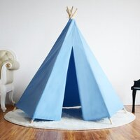 Kids Timber Canvas Honeycomb Teepee Tent w Rug Blue