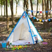 Kids Square Cotton Canvas Teepee Tent - Blue Car