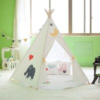 Kids Pentagon Cotton Canvas Teepee Tent - Animals