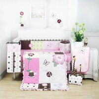 8pc Baby Cot Bedding Quilt Set w Pink Flower Design