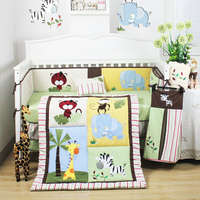 8pc Baby Cot Bedding Quilt Set with Safari Animals