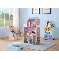 Kid's MDF 3 Storey Dollhouse w/ Furniture in Pink