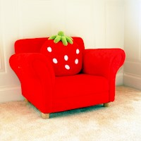 Kids Coral Fleece Strawberry Sofa Armchair in Red